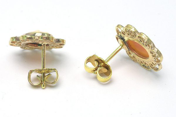 Vintage Cameo Post Back Earrings in 14KT Gold