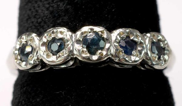 Blue Sapphire White Gold Band Ring