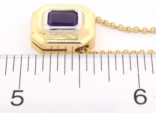 Amethyst Pendant and Chain, 14K